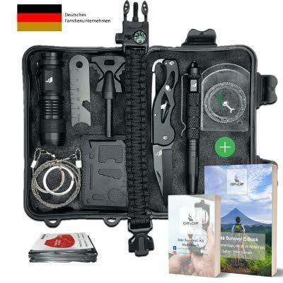 Survival Kit Vergleichssieger 2020* mit 2 eBooks - über 7.000 zufriedene Kunden - Dein perfektes Set fürs Campen oder Wandern mit Klappmesser, Paracord Armband, Taschenlampe und weiterem Zubehör