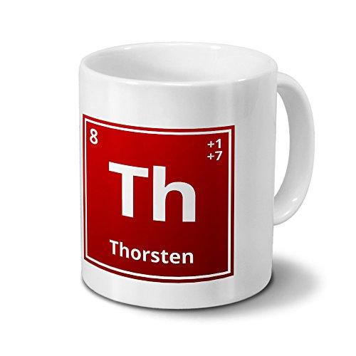 Tasse mit Namen Thorsten als Element-Symbol des Perioden Systems - rot - Namenstasse, Kaffeebecher, Mug, Becher, Kaffeetasse
