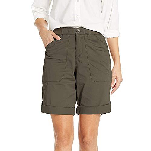 AFFGEQA Sommer Shorts Damen Hotpants Casual Mode Kurze Hosen Bequeme Hohe Taille Einfarbig Sportshorts Strandshorts Mit Taschen