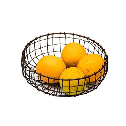 BESTONZON Bol à Fruits en Métal - Panier à Fruits Décoratif Vintage Black - Stockage de fruits pour plus de vitamines dans votre vie quotidienne (20,5 x 20,5 x 7,5 cm)