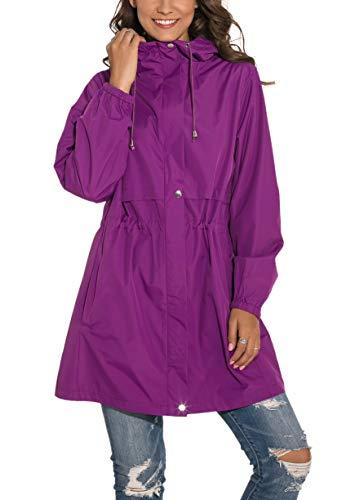 GUANYY Rain Jacket Women Waterproof Hooded Raincoat Active Outdoor Windbreaker Trench Coat (Purple, Small)