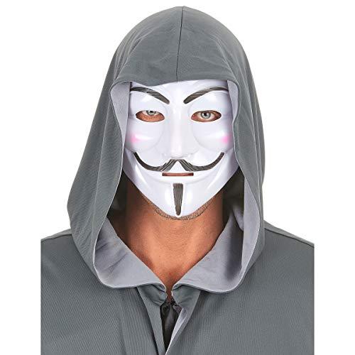 KULTFAKTOR GmbH Anonymus Maske Karnevalsmaske Weiss-schwarz Einheitsgröße