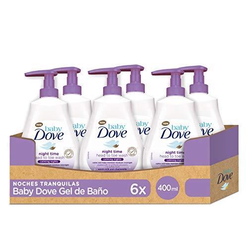 mejores Geles de ducha para bebé Baby Dove Gel de Ducha para Bebés Noches Tranquilas - Pack de 6 x 400 ml (Total: 2400 ml)