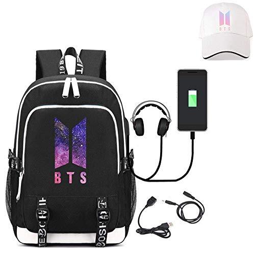 BTS Backpack, BTS Student Schoolbags Travel Bag for Boys Girls Kids Teenagers Bangtan Boys Fans Gift (L)