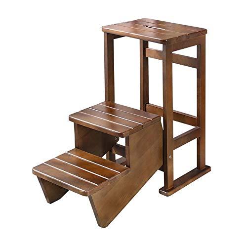 JCNFA-BOEKENPLANK Massief Houten Laddertje, Keuken Kruk, Klapstoelen, Multifunctionele Twee Laddertje, Draagbare Ladder, Massief Beuken (Color : Walnut, Size : 11.02 * 12.99 * 24.40in)