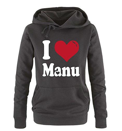 Comedy Shirts - I Love MANU - Damen Hoodie - Schwarz / Weiss-Rot Gr. L