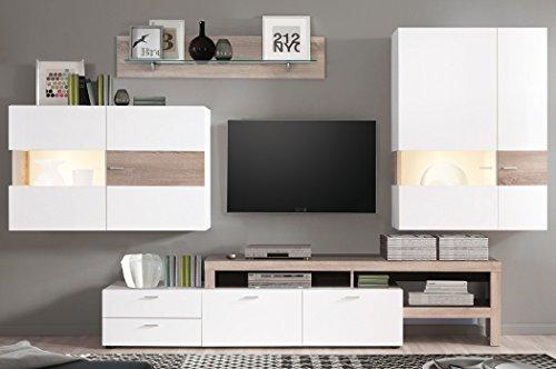 Wohnwand Monty 351x207x47 cm weiß Hochglanz Eiche Trüffel Schrankwand Wohnzimmerschrank Vitrine Wandschrank Wandboard TV-Board LED-Beleuchtung - 5