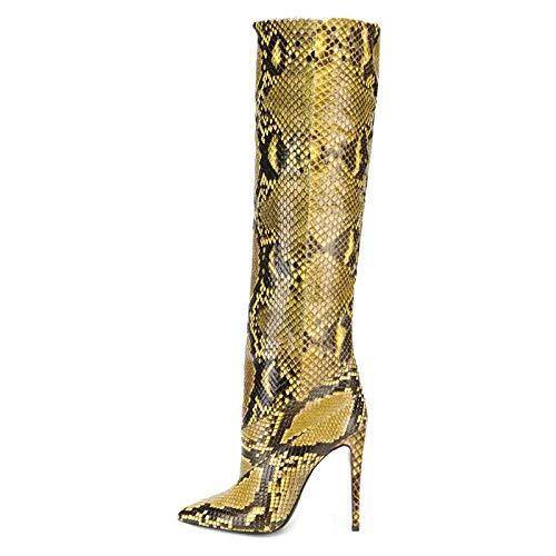YOWAX Botas de tacón Alto para Mujer Zapatos Sexy Tacón de Aguja Piel de Serpiente Delgada Botas de tacón Alto de noche-37