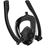 Snorkel Mask Full Face K2 Free Breathing Backstroke Swimming [Double Tubes] 180° Panoramic View Easy Breath Anti-Fog Anti-Leak with Camera Mount