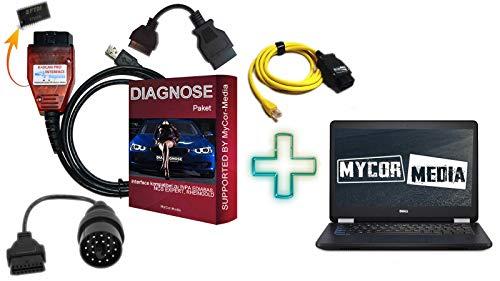 MyCor-Media Original Diagnose KDCAN PRO Interface für BMW INPA Rheingold ISTA NCS EXPERT (Diagnose Laptop für BMW E F G I Modelle ab Baujahr 1995 bis 2020)