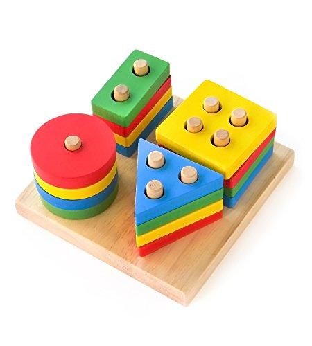 Boxiki kids Juguetes Apilables de Madera y Tablero para Apilar Figuras| Juego de Figuras Geométricas Apilables | Non-Tóxico Juguete de Madera | Juguetes Educativos