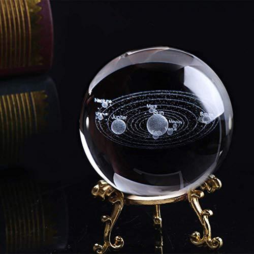 YINGFB Solar System Crystal Ball Mit Klarem Stand Dekorative Sendekraft Planet Ball 3D Laser Gravierte Glaskugel-b 8cm(3inch)