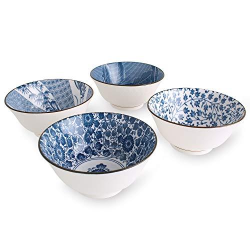 YALONG 20 Ounce Deep Soup Asian Bowls Set of 4, 6 Inch Ceramic Cereal Bowls Set of 4 Salad, Blue and White Patterns Serving Pasta Rice Noodle Japanese Bowls Microwave Dishwasher Safe