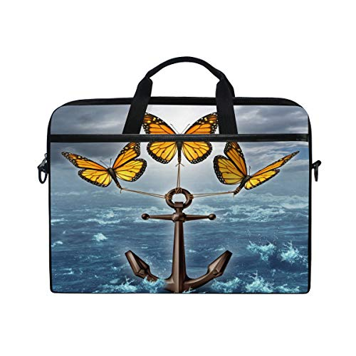CPYang Laptop Bag Ocean Anchor Butterfly Computer Laptop Case Notebook Laptop Shoulder Messenger Bag Sleeve for Boys Girls Women Men