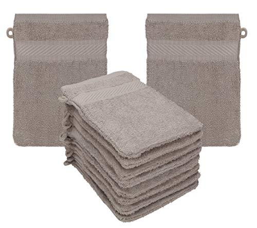 Betz Paquete de 10 Manoplas de baño Palermo 100% algodón tamaño 16x21 cm (Gris Piedra)