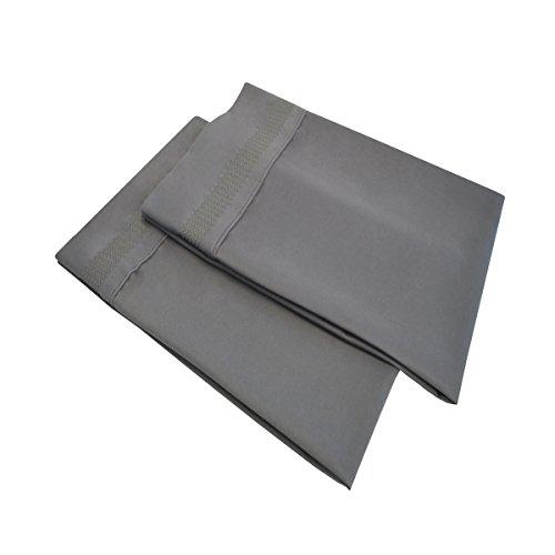 Super Soft Light Weight, 100% Brushed Microfiber, Standard, Wrinkle Resistant, Grey 2-Piece Pillowcase Set with Peaks Hem Detail