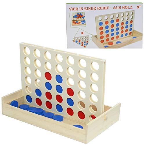 Smart Planet® Vier Gewinnt Brettspiel aus Holz - kleines Reise Spiel für Kinder und Erwachsene - 4 in Einer Reihe in der praktischen Holzbox