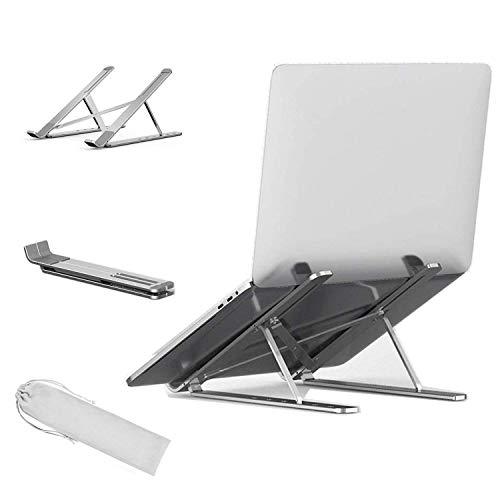 Aokilom Laptop Stand, Portable Folding Desktop Stand with 6 Level Height Adjustment, Compatible for 10~15.6 Inch Notebook Notebook (Silver)