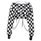 6Wcveuebuc Sudadera sexy Hollowed Hollowed Suelta Cadena de Metal Gótico Punk Manga Larga con Cordón Sudadera Harajuku Impresión de Cuadros Suéter Crop Top Cover Up Streetwear