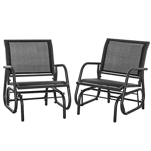 Outsunny Outdoor Gliders Pack of 2 with Breathable Mesh Fabric, Curved Armrests and Steel Frame, Black
