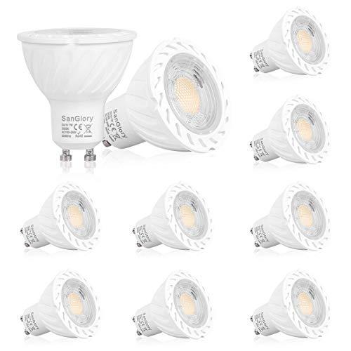 SanGlory GU10 LED Warmweiss, 7W GU10 LED Lampe ersetzt 50W 60W 70W Halogenlampe, 680LM, Warmweiß 3000K LED Leuchtmittel GU10 Spotlights, 45° Abstrahwinkel, CRI>80, AC 100-240V, 10er-Pack
