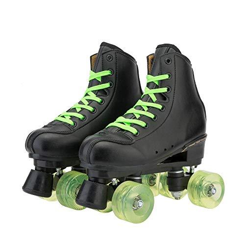 Patines de alta calidad para adultos, adolescentes y jóvenes, de piel sintética, cuatro patines de doble fila con bolsa de zapatos, perfecto para hombres y mujeres (rueda transparente, 43)