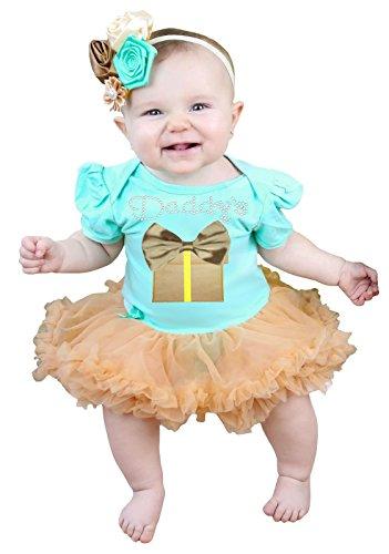 Vaderdag Baby Jurk Papa en Gift Box Aqua Blauw Bodysuit Goud Tutu Nb-18m