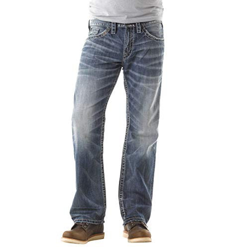 Silver Jeans Co. Men's Zac Relaxed Fit Straight Leg Jeans, Light Indigo, 40W x 32L