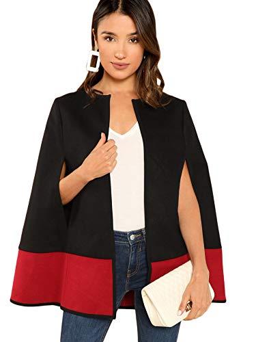 Milumia Women's Elegant Open Front Colorblock Cloak Sleeve Cape Poncho Coat Outwear Black