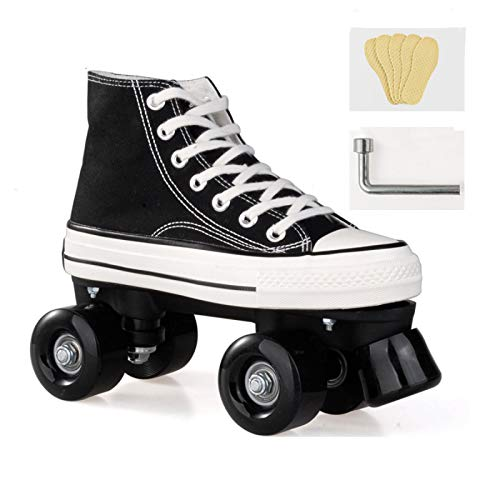 WEDSGTV Roller Skates for Women/Kids, Quad Skates up Wheels Adults,Adjustable Shoes with Wheels for Children, Unisex LED Double Row Canvas Rollschuhe Damen,Teenagers Roller Skating,Black-36