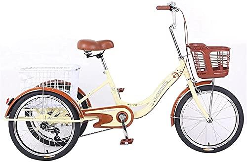 XBR Anti-Kollision Erwachsene 3-Rad Dreirad - Trike Cruiser Fahrrad, Dreirad für Erwachsene Senioren Damen Herren 1 Gang 3-Rad Fahrrad Trike mit Einkaufskorb Dreirädriges Liegerad