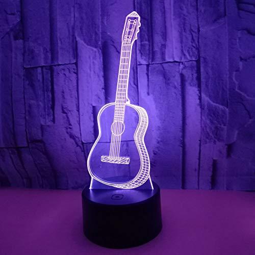 3D Ilusión óptica Lámpara LED Guitarra Luz de noche Deco Lámpara 7 colores de Control Remoto con Acrílico Plano & ABS Base & Cargador USB