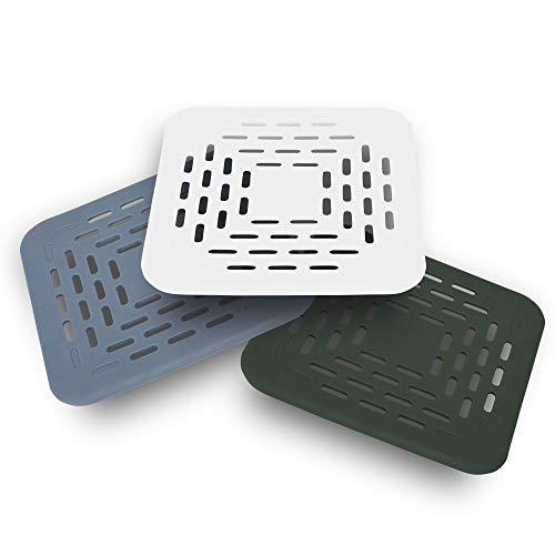 ECENCE 3X Abflussschutz, Abfluss-Sieb, Ausguss-Abdeckung mit Saugnapf, Haarfänger für Dusche, Badewanne, Spüle, weiß, grün, blau, 13x13x0,5cm