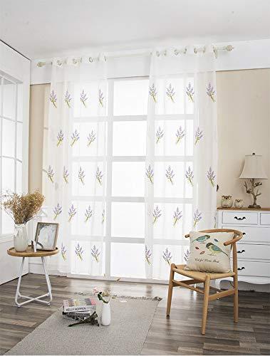 Lactraum Rideaux de salon avec œillets Blanc transparent Brodé Fleurs Lavande Voile 145 x 245 cm