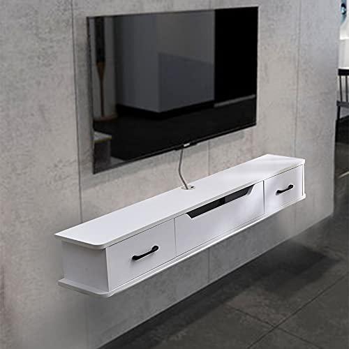 Mueble de TV, Mueble TV Colgante De Madera Blanca, Estantes De Consola Montados En La Pared con 2 Cajones, No Requiere Ensamblaje, Orificios para Cables Ocultos, 130 * 24 * 20 Cm
