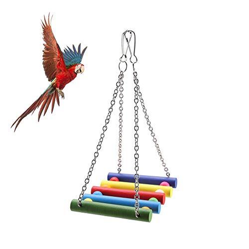 Giochi per Uccelli pappagalli,Giocattoli Pappagallo di Uccelli Pet Bird Parrot Cage Toy scaletta Giocattoli di Altalena per Uccelli Domestici Legno Altalena