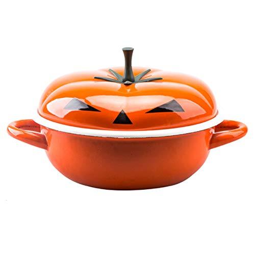 Cocotte en fonte pour tomate/citrouille - Cocotte ovale à induction avec revêtement émail résistant - Pour toutes les sources de chaleur, Fer, 2, size