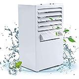 Aire acondicionado de espacio Personal, Enfriador de aire, ventilador de aire acondicionado, purificador, humidificador, ventilador de refrigeración de escritorio con 3 velocidades para el hogar White