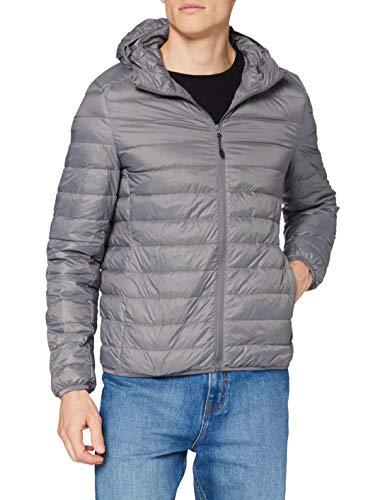 Urban Classics Basic Hooded Down Jacket Chaqueta, Gris (Darkgrey 94), L para Hombre