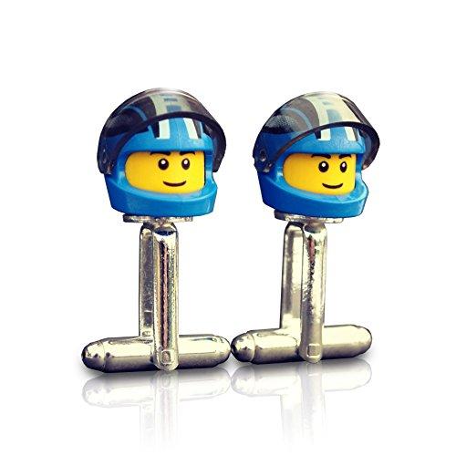 Motorhelm en vizier manchetknopen (blauw patroon) met de hand gemaakt van Lego® Minifiguur Hoofden, Biker, Motorfiets, bruiloft, Groom, Heren nieuwigheid, Gift Bag