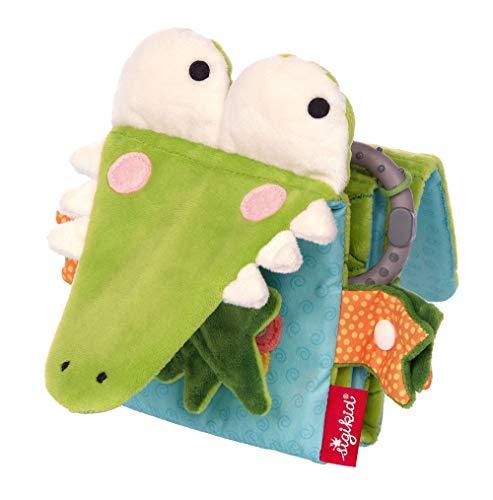 SIGIKID Mädchen und Jungen, Aktiv Bilder-Buch Krokodil zum Aufklappen, Babyspielzeug, empfohlen ab 6 Monaten, grün/blau, 42513