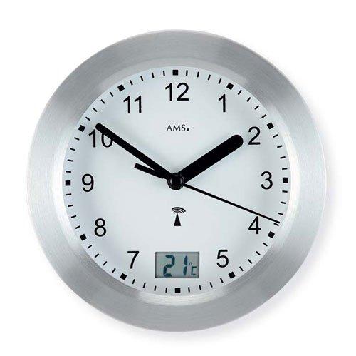 5923 AMS horloge murale radio-pilotée aluminiumfrontreif argenté imperméable