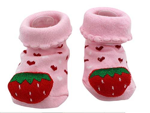 Antislip sokken - kinderen - baby's - 0/12 maanden - fantasie - roze aardbei - harten - mannelijk - vrouwelijk - unisex
