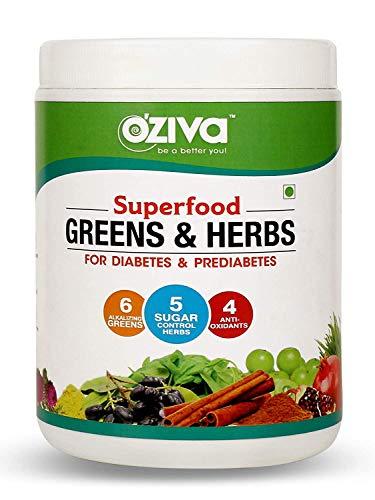 OZiva Superfood Greens & Herbs for Diabetes & Prediabetes (with Gymnema, Fenugreek, Milk Thistle Extract), 250g