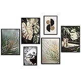 myestado Premium Poster Quadri Moderni Soggiorno - Decorazioni da Muro per Camera da Letto e Cucina - Set Stampe da Parete - 4 x A3 (30x42cm) et 2 x A4 (21x30cm) - Senza Cornici » Gold Leaf «