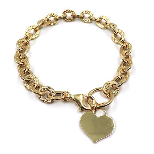 Pulsera de cadena ovalada martillada con colgante de corazón personalizable de plata 925 chapada en oro, con grabado incluido