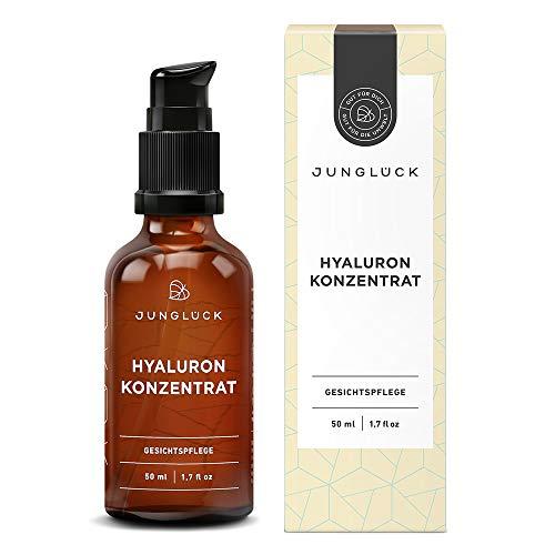 Junglück Hyaluron Konzentrat - vegan | 50 ml in Braunglas | hochdosiertes Hyaluronsäure Serum | Anti-Aging Feuchtigkeitspflege Gel | Natürliche & nachhaltige Kosmetik made in Germany