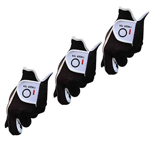Golfhandschuh Herren Linke Hand 3 Stück (Not Paar)Passen Rechtshänder Golfer Allwetter Mikrofaser Rain Grip Golf Handschuh Links Grau Schwarz Weicher Komfort Passform Größe S M ML L XL (Schwarz-L)