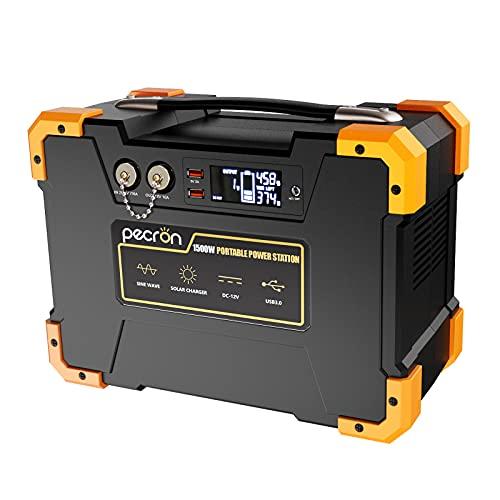 pecron ポータブル電源 1500W 大容量406000mAh/1461.6Wh 家庭アウトドア両用 バックアップ電源 純正弦 小型発電機?家庭用蓄電池 ポータブルバッテリー モバイル電源AC(1500W 瞬間最大3000W)/DC/USB出力 三つの