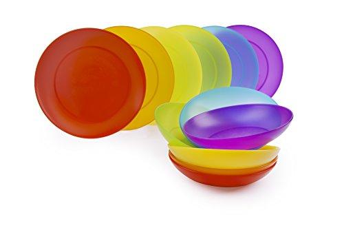 Excelsa Rainbow Servizio Piatti, Plastica, Set 12 Pezzi